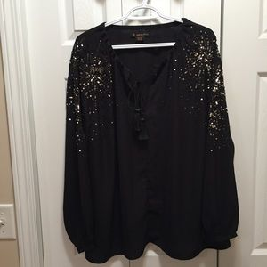 Love & Legend Black Tunic with Silver Sequins Plus